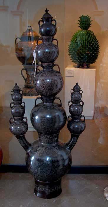 Award-winning, decorative water jugs and towers by Grand Mistresses Elena Felipe and Bernadine Riviera.