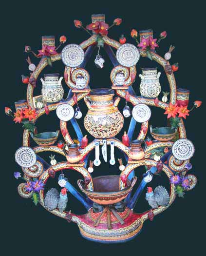 Alfonso Castillo and Family – Trees of Life and Mexicanique, decorative folk art.