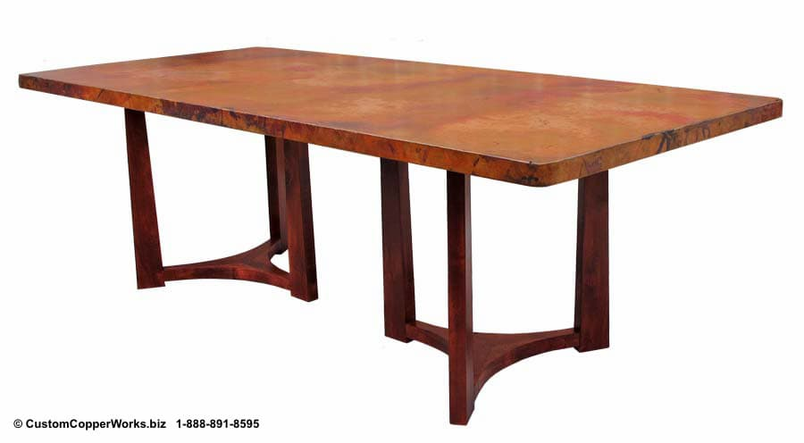 """Copper Table Top - 96"""" x 44"""" x 2"""" Rectangle mounted on the Double Pedestal Natalia Wood Pedestal Table Base."""
