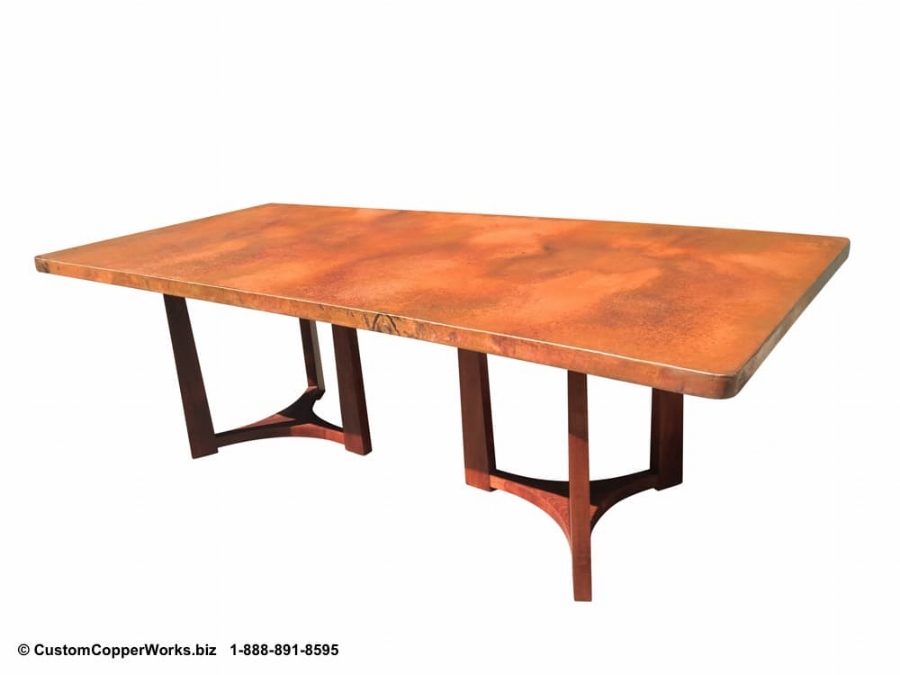"Copper Table Top - 96"" x 44"" x 2"" Rectangle mounted on the Double Pedestal Natalia Wood Pedestal Table Base 2"