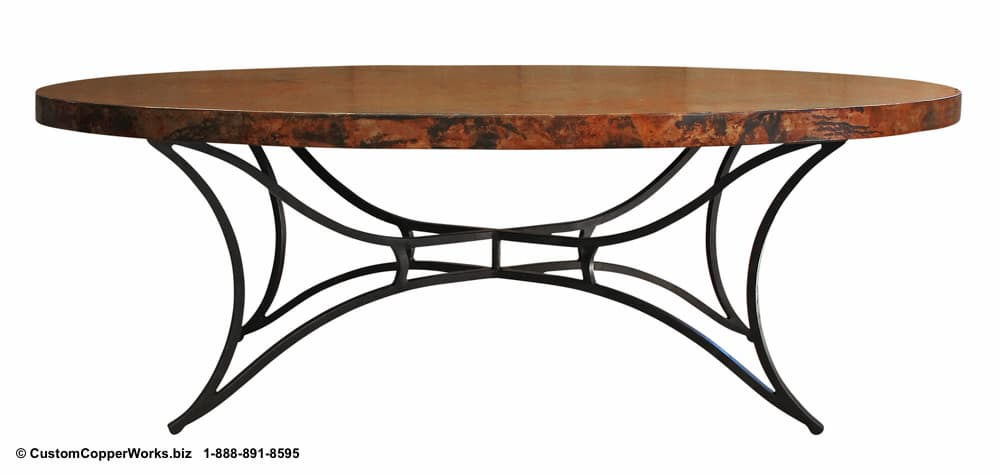 Copper top oval dining table mounted on the contemporary modern Marita hand-forged, iron table base.