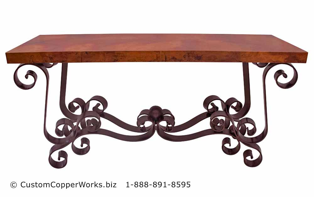 Copper top dining table, coffee top, console table, end tables mounted on the Amber Spanish Colonial Forged Iron Table Bases.