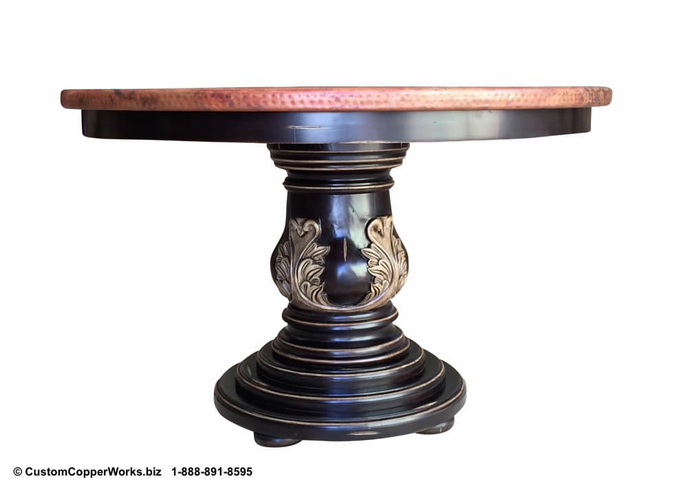 Copper Top Round Dining Table mounted on the Christina hand carved wood pedestal table base.
