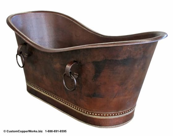 Hammered Copper Soaking Tub  Freestanding Double Slipper Bathtub