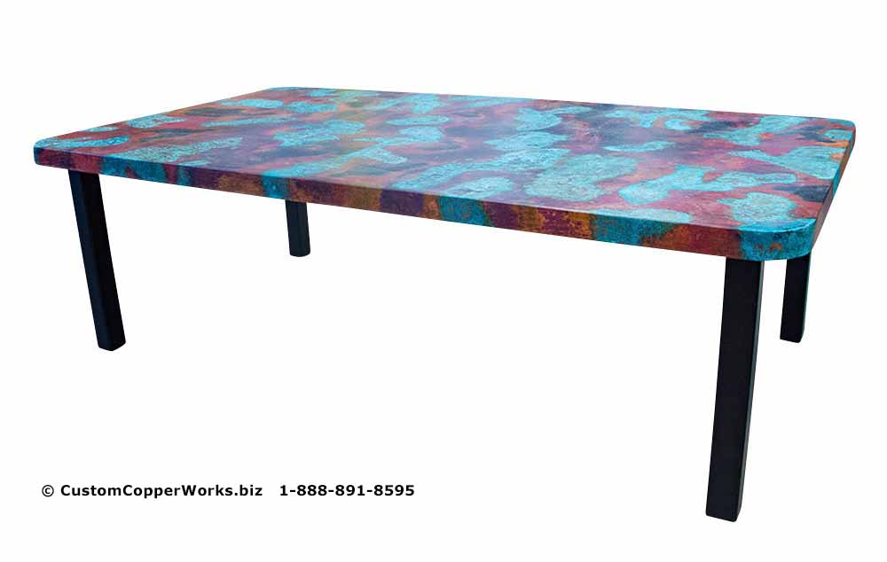 Hand-hammered rectangle copper top dining table mounted on black powder coated, modern, forged-iron table base - 2