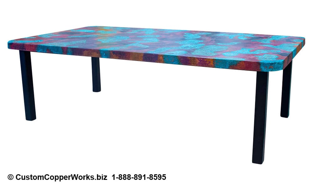 Hand-hammered rectangle copper top dining table mounted on black powder coated, modern, forged-iron table base - 3