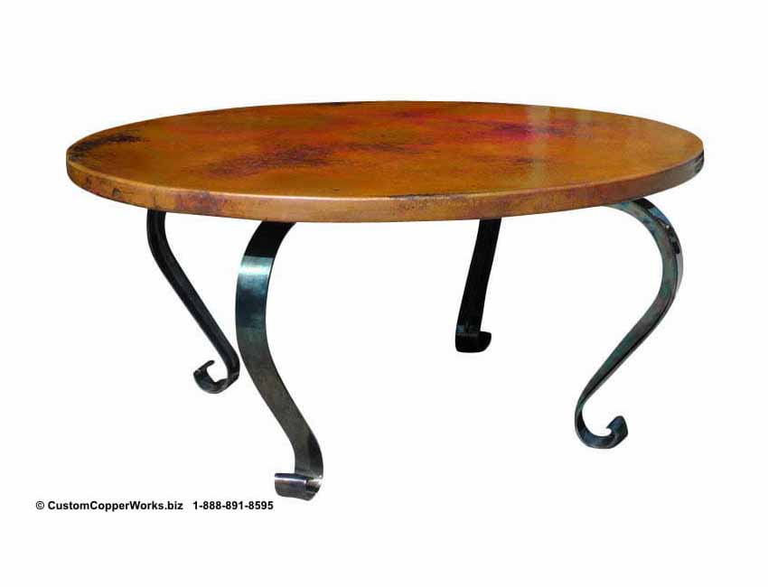 """COPPER DINING TABLE: Hammered, Copper Round Table Top – 63"""" diameter - mounted on the Hand-forged, Lorena Iron Table Base."""
