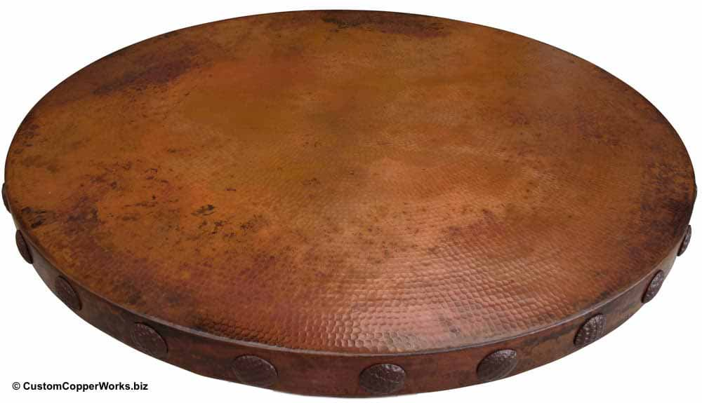 Hammered Copper Table with Decorative Conchas-2