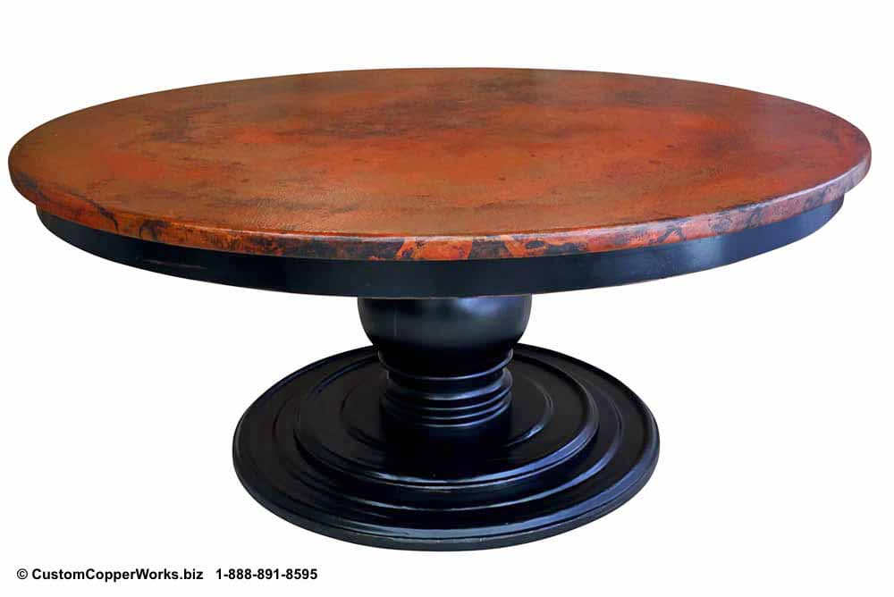 Hammered Copper Top Round Dining Table  Mounted on the Jenna Wood Single Pedestal  Table Base with Wood Apron.