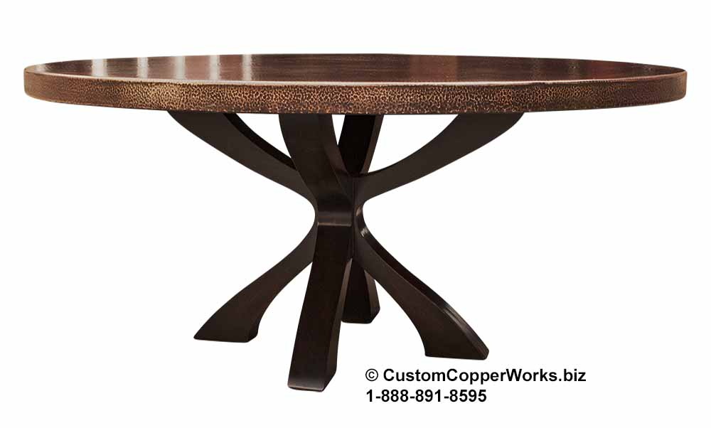 Round Copper Top Dining Table Mounted on ITZEL Wood, Geometric, Pedestal Table Base.