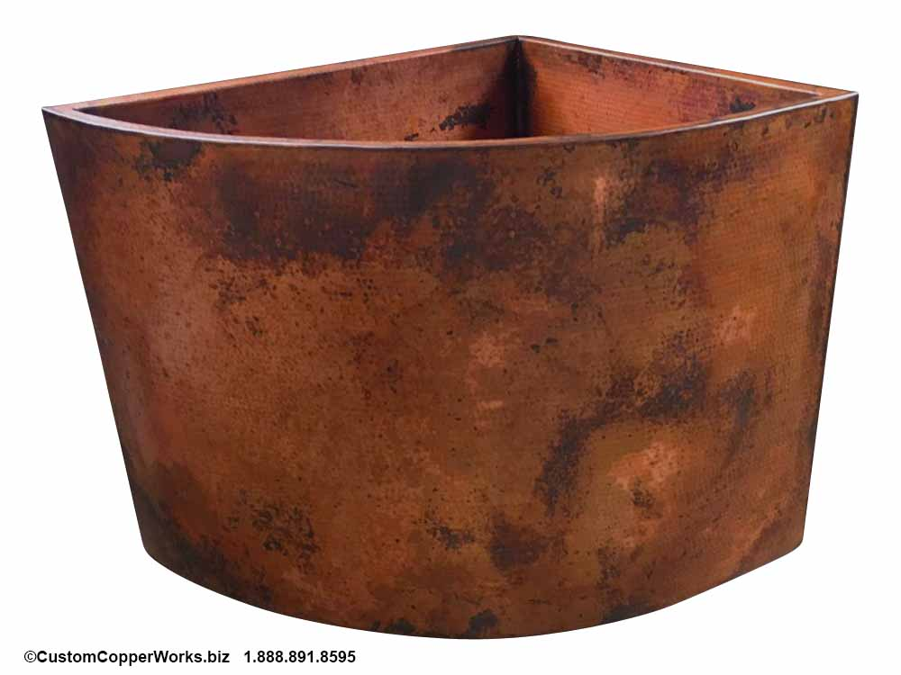 Hammered Copper Soaking Tub, Double Wall, Corner Mount, Matching Copper Sinks. CCW design #26.