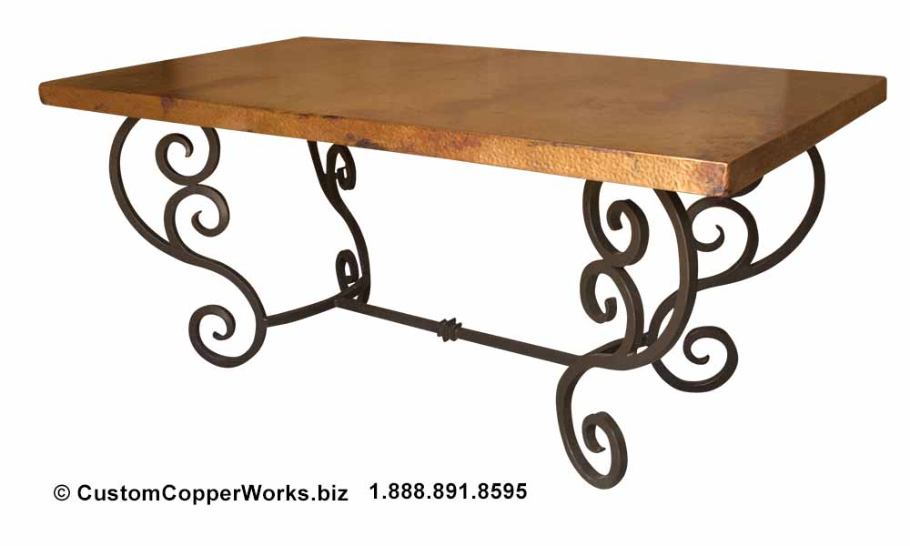 """Copper dining table — 72"""" x 40"""" — mounted on curled, forged-iron, powder coated, rustic, colonial style trestle table base -3"""