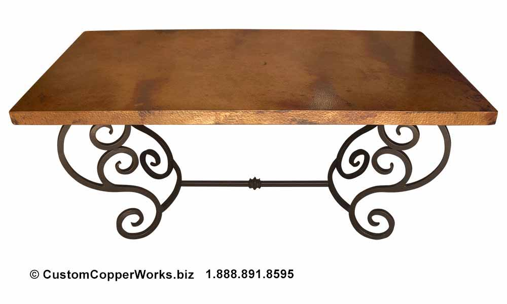 """Copper dining table — 72"""" x 40"""" — mounted on curled, forged-iron, powder coated, rustic, colonial style trestle table base -4"""