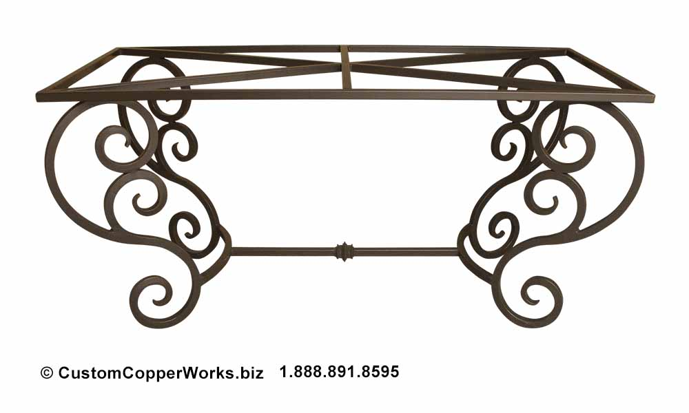 """Copper dining table — 72"""" x 40"""" — mounted on curled, forged-iron, powder coated, rustic, colonial style trestle table base -5"""
