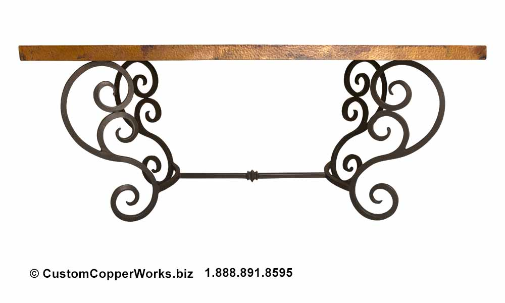 """Copper dining table — 72"""" x 40"""" — mounted on curled, forged-iron, powder coated, rustic, colonial style trestle table base."""