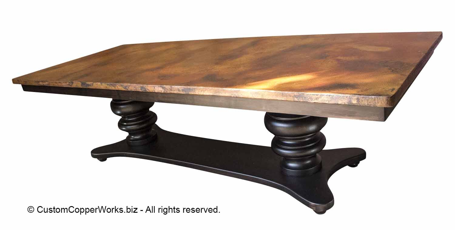 Hammered Copper Dining Table Top Mounted On A Trestle Style Double Pedestal Wood Table Base 132