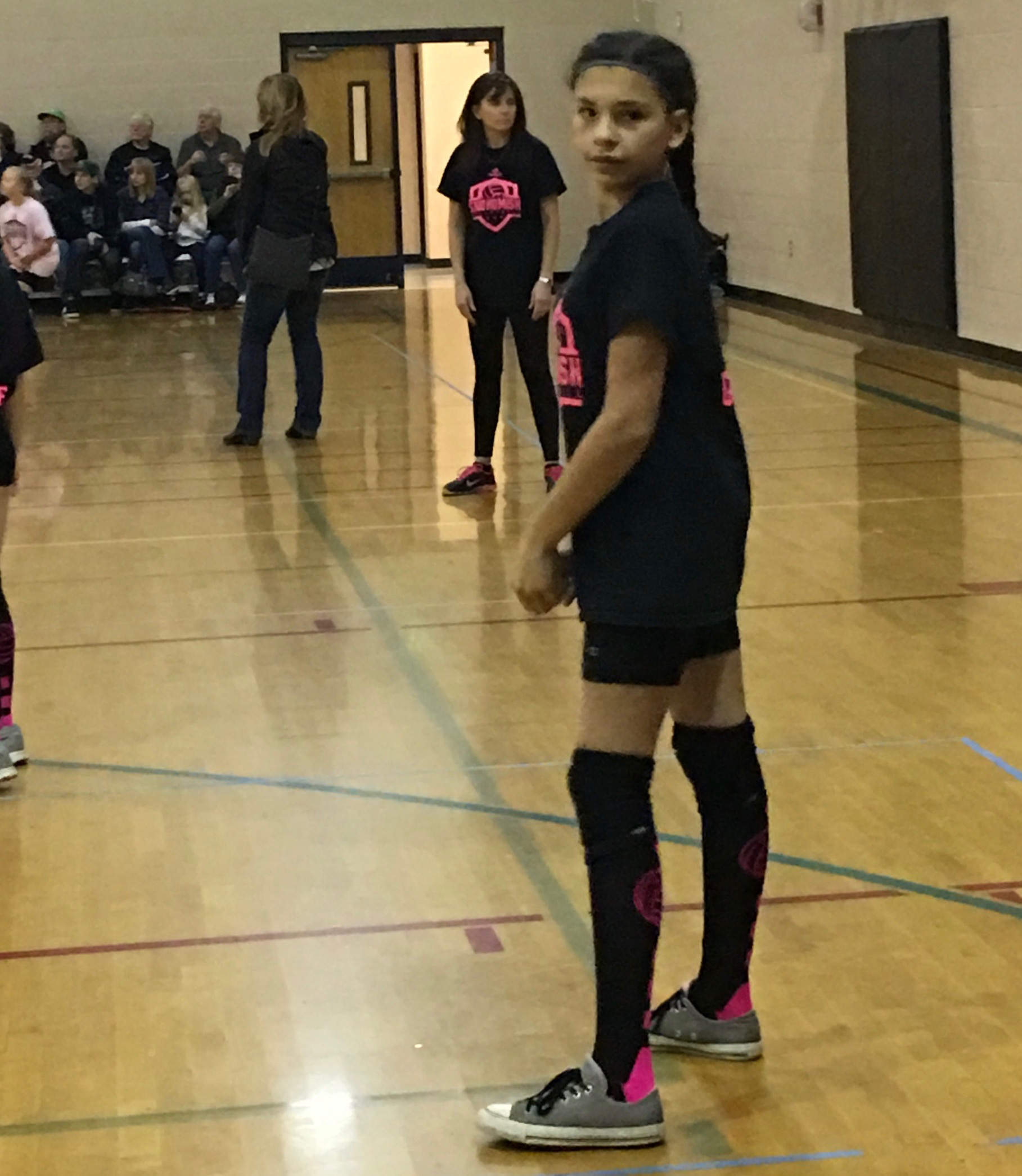 Adriannah, winning it for her team in volleyball.
