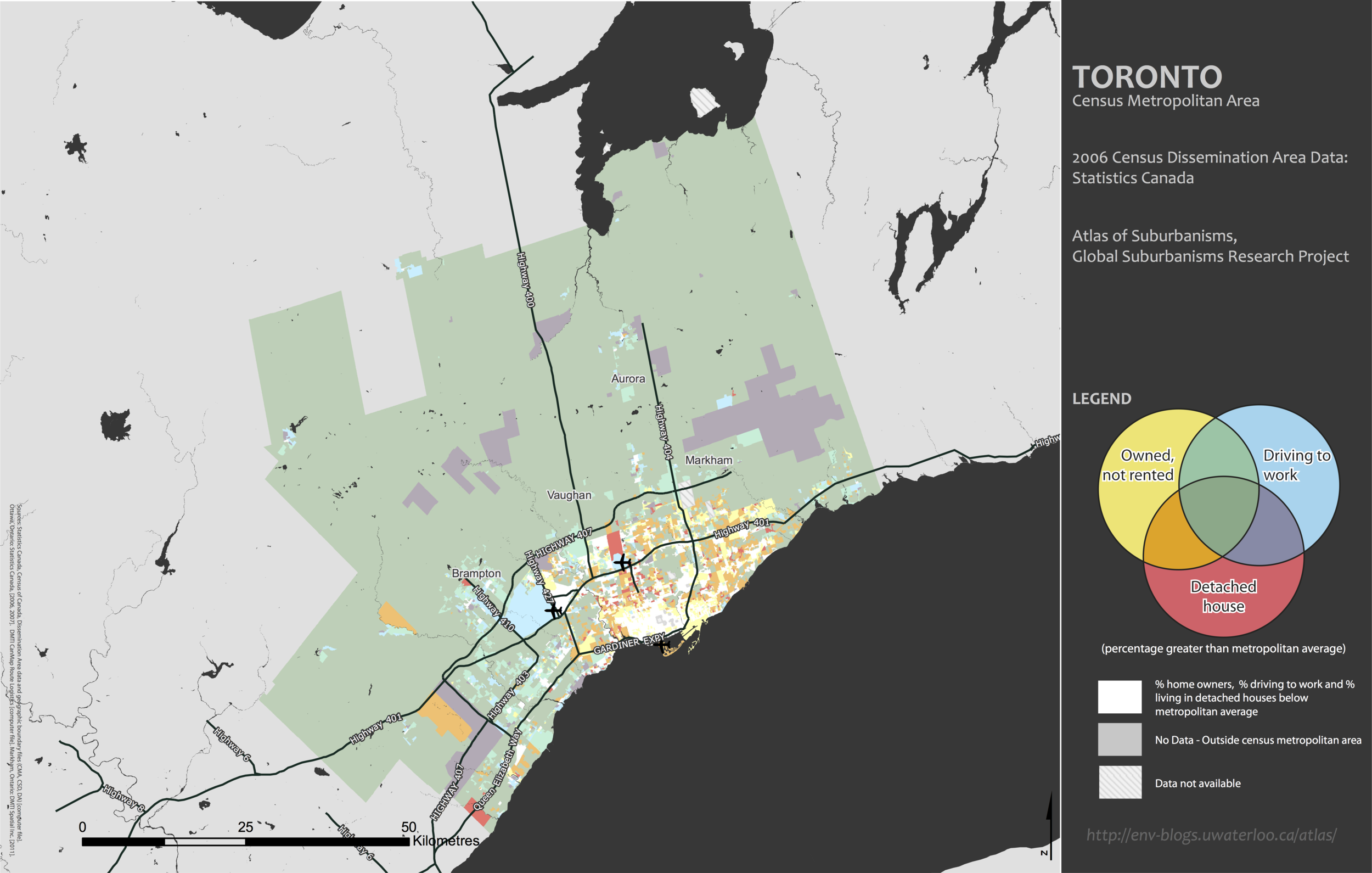 Toronto Suburbanism- Built form/Commute-mode dimension:homeownership, occupancy of detached single-family housing, and reliance on the private automobile