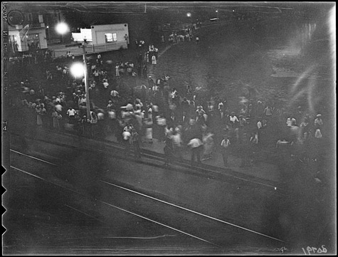 The only picture taken of the riot, by a Globe and Mail photographer Toronto Archives; fonds 1266, Globe and Mail Collection, item 30791