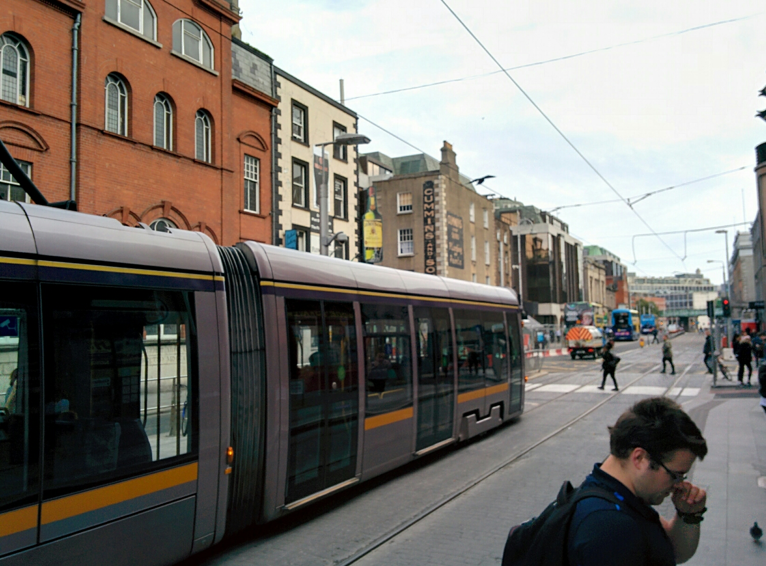 The tram in the city centre. The line is also used by emergency services and cyclists although I'm not sure its official as it makes for some awkward cycling.