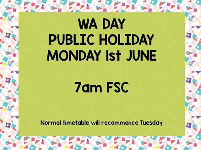 We will only have one class running for Monday 1st June
