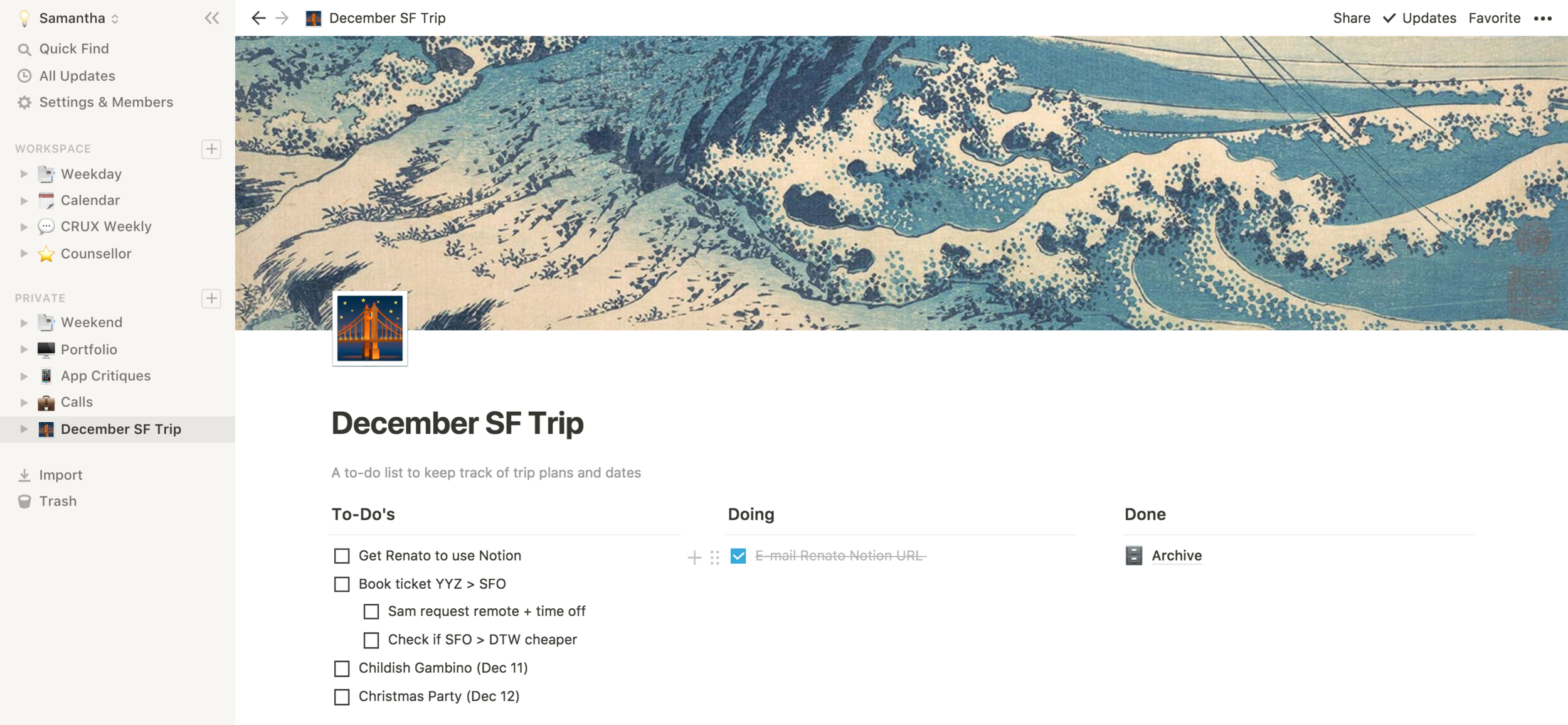 Using Notion's 'Lightweight To-Do' template