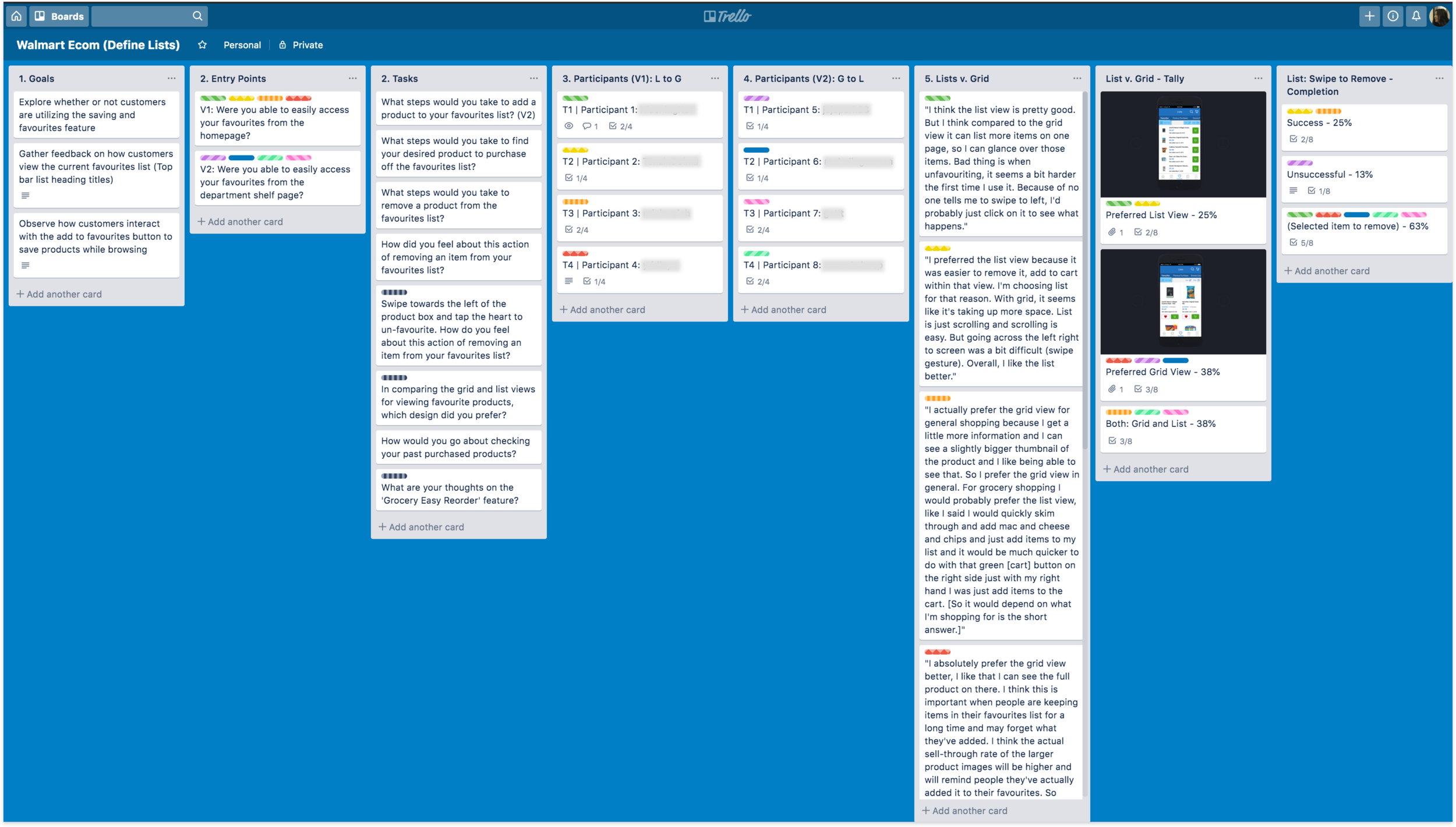 Trello - synthesizing and comparing research results with team
