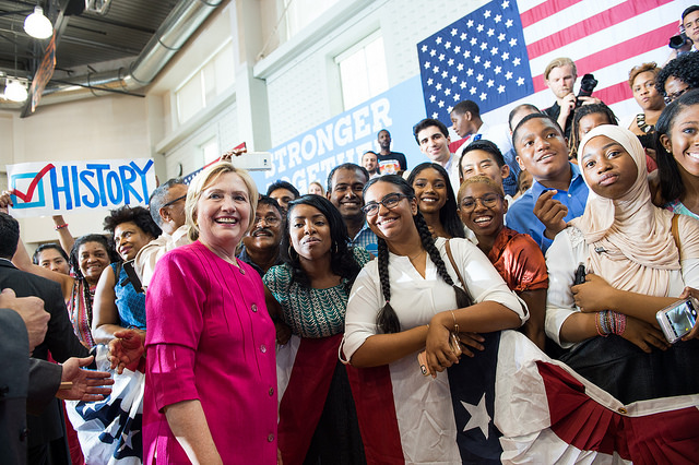 HRC making herstory on the campaign trail in Philadelphia, PA. (Image located  here )