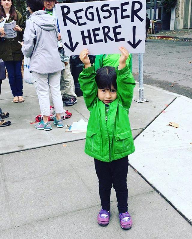Our littlest activist. #YounginsforHillary 📷: WA team #WeekendofAction
