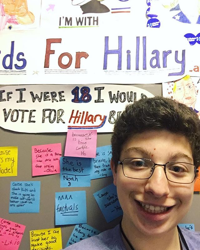 """""""#ImWithHer because she has the most experience and knows what she's doing!! I think her plans are the best of any candidate to benefit the country."""" - Zach, 16 (NY)"""