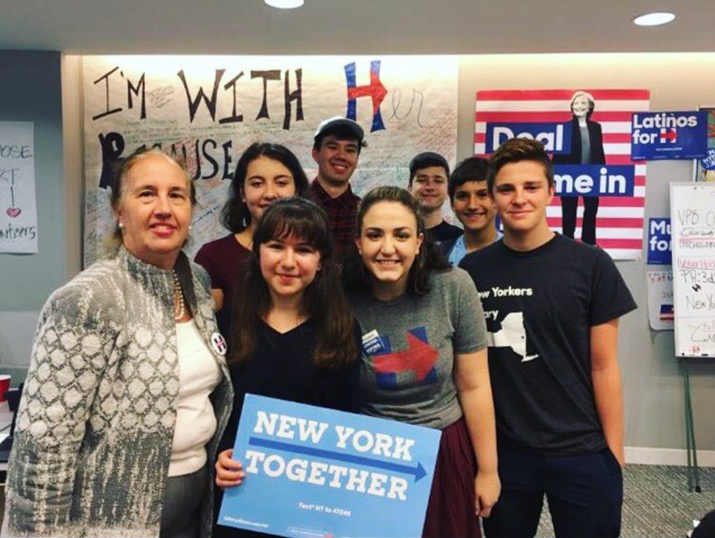 Manhattan Borough President Gail Collins spoke at a teen phone-banking event held by New York State Young Democrats and the High Schoolers for Hillary Organization.