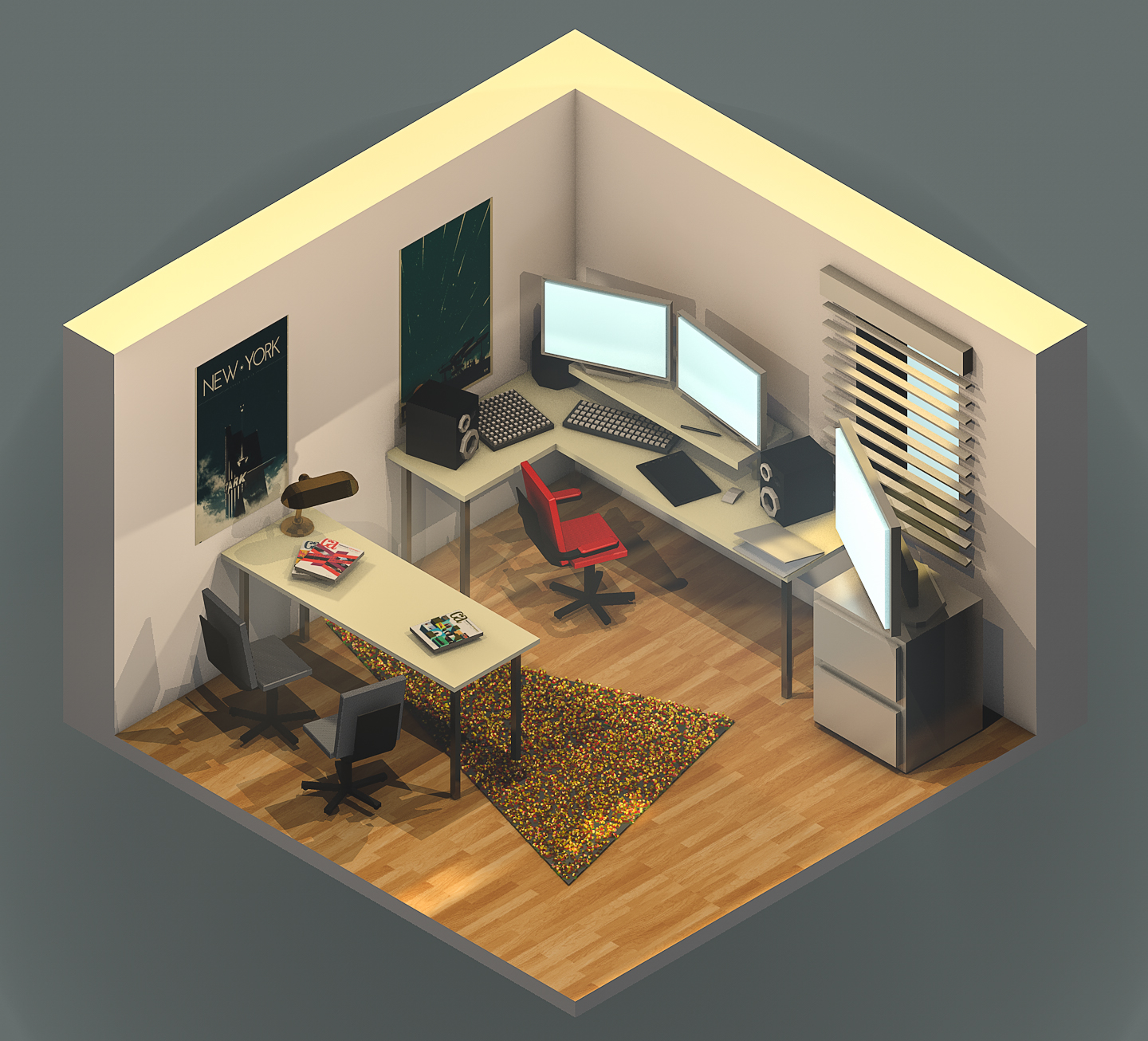 Low poly version of my office