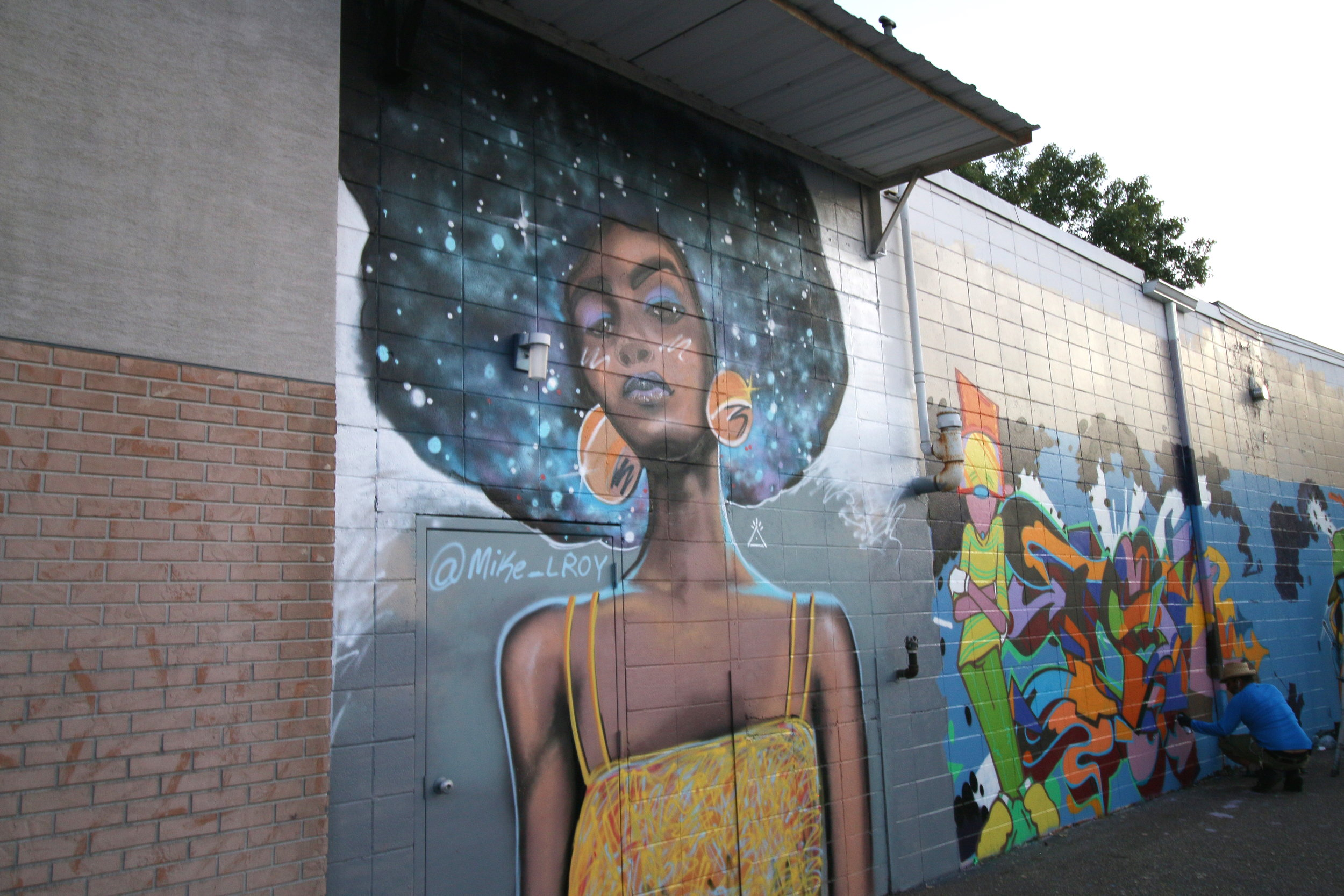 Mike Lroy Intergalactic Space Afro Woman Mural Monona, WI.JPG