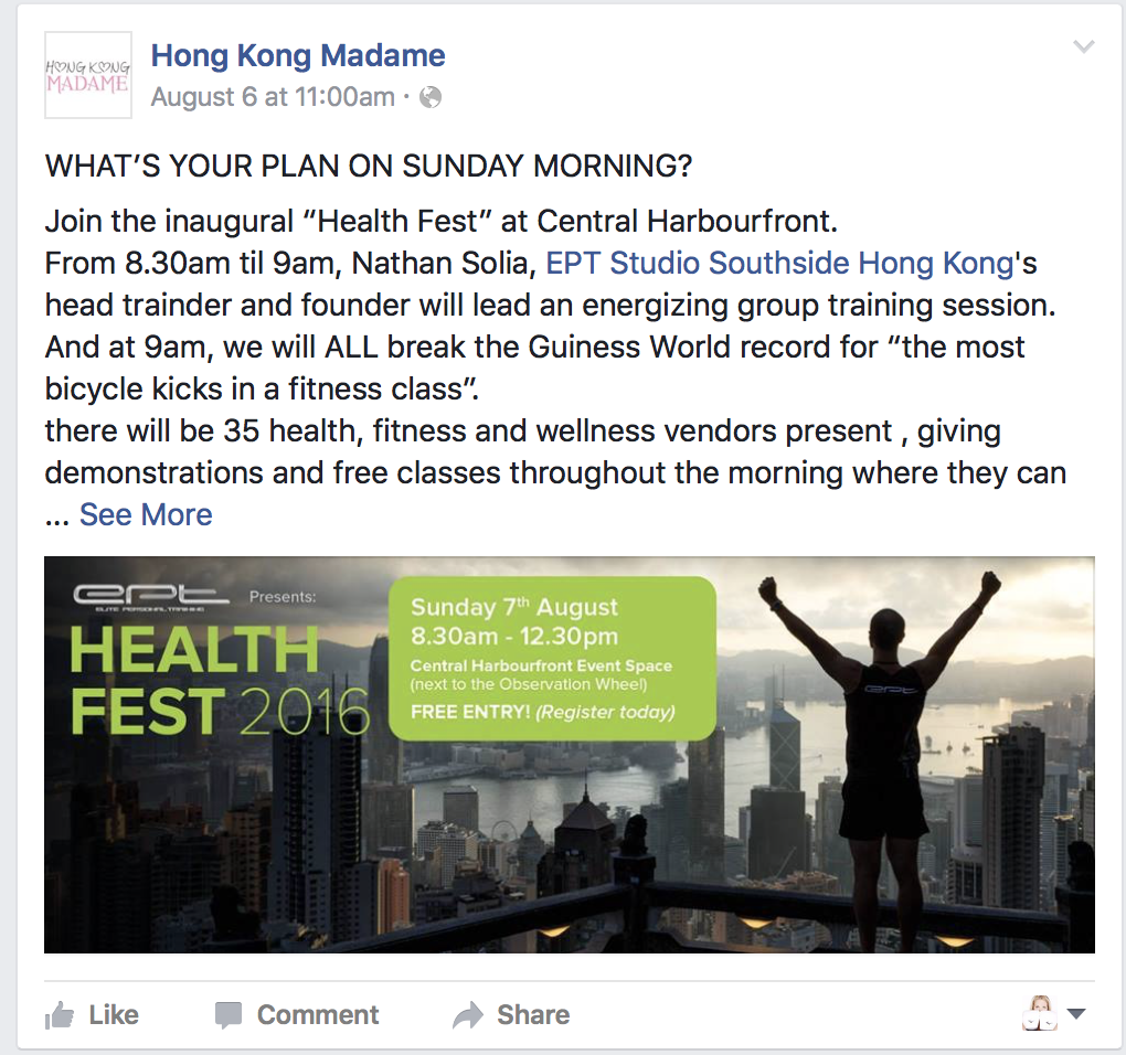 HK Madame Feature on EPT Health Fest