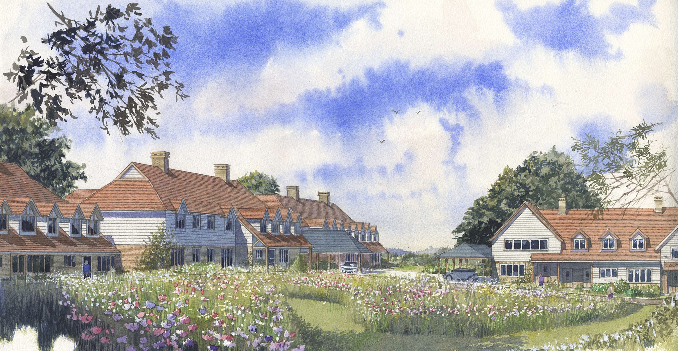Tenterden - We have recently submitted a planning application for a mixed assisted living and care home scheme for APM, Cognatum and Barchester Healthcare. The sloping site is to the west of Tenterden town centre. The scheme comprises 22 new assisted living units plus a resident managers office, and a 56 bed care home for the frail elderly with specialist provision for dementia patients.A substantial area around some existing badger sets will be left undeveloped, cultivated as a wild flower meadow and safeguarded for the future.