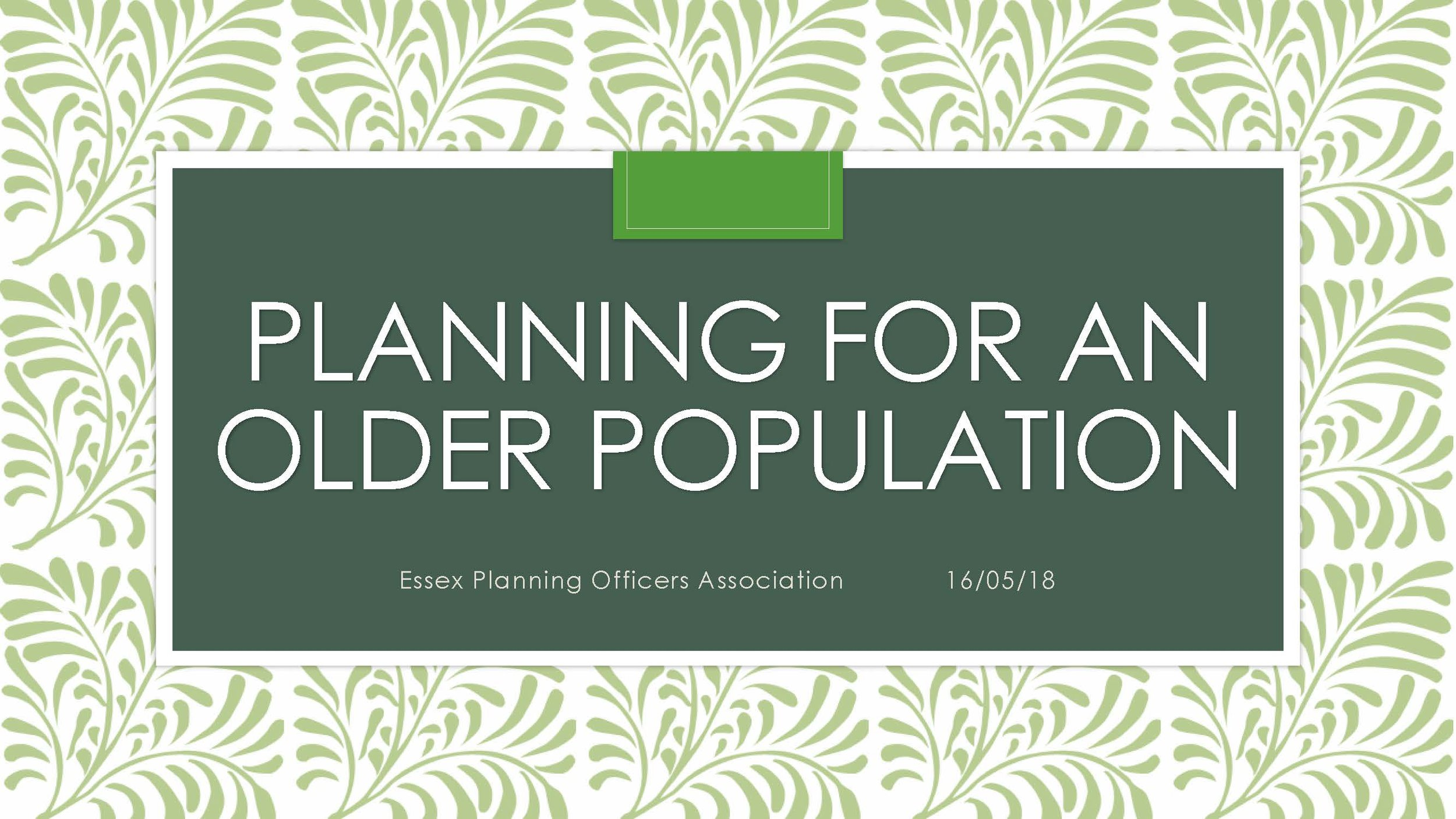 Planning for an Older Population Talk
