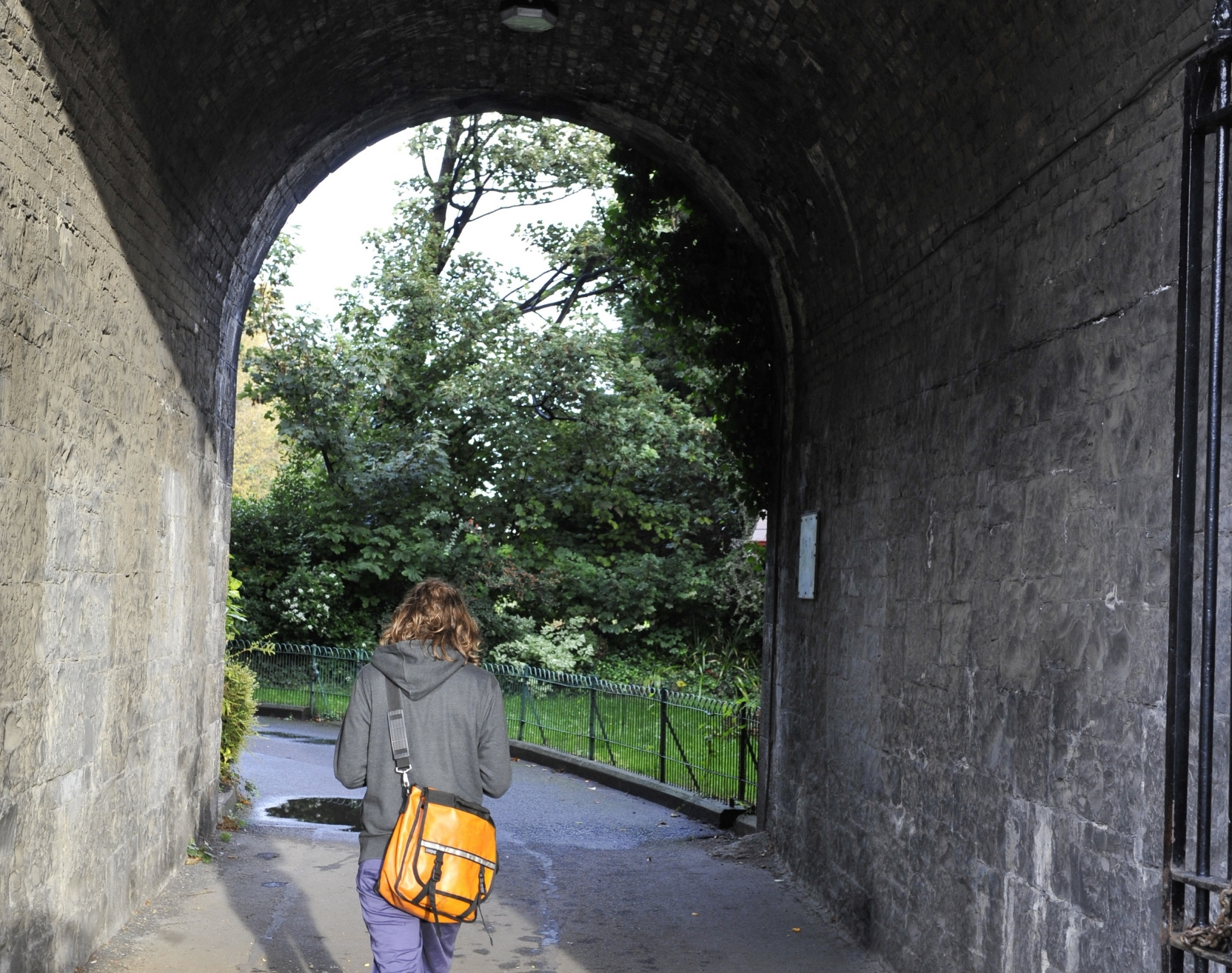 In her site-specific work for The Ranelagh Pleasure Gardens Jennie Guy created a persona for the gardens entitled 'Melancholy Park'. Audience members listened to the work via mp3 players whilst they walked through the gardens. Image courtesy Margaret Brown.