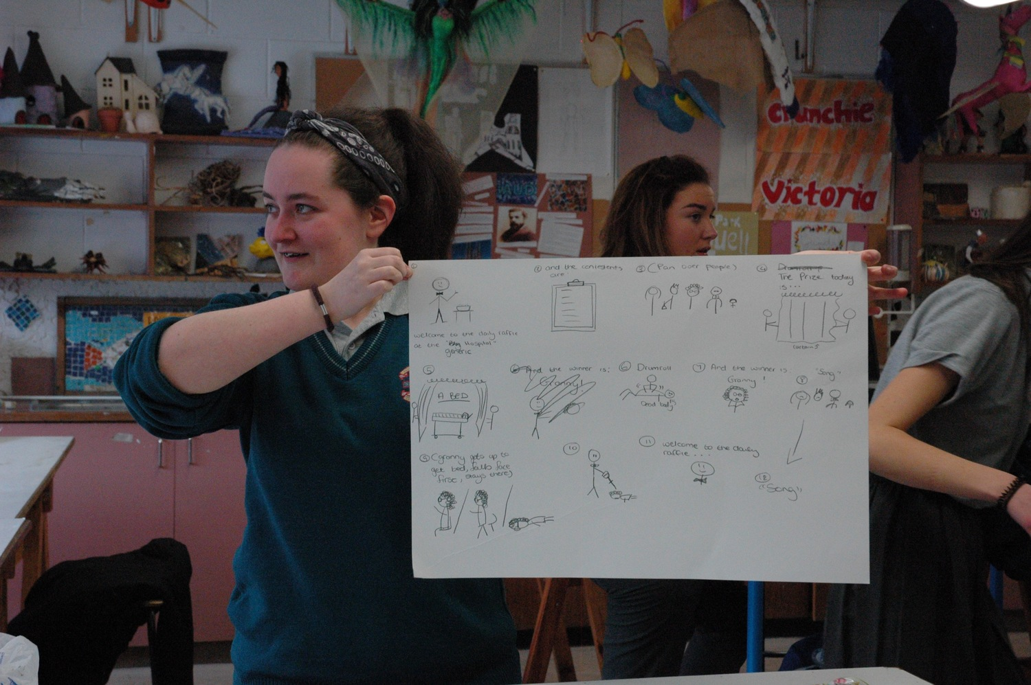 Students and Clodagh used story-boarding, musical composition, choreography, special effects, prop-building and performance to create an impressive drama