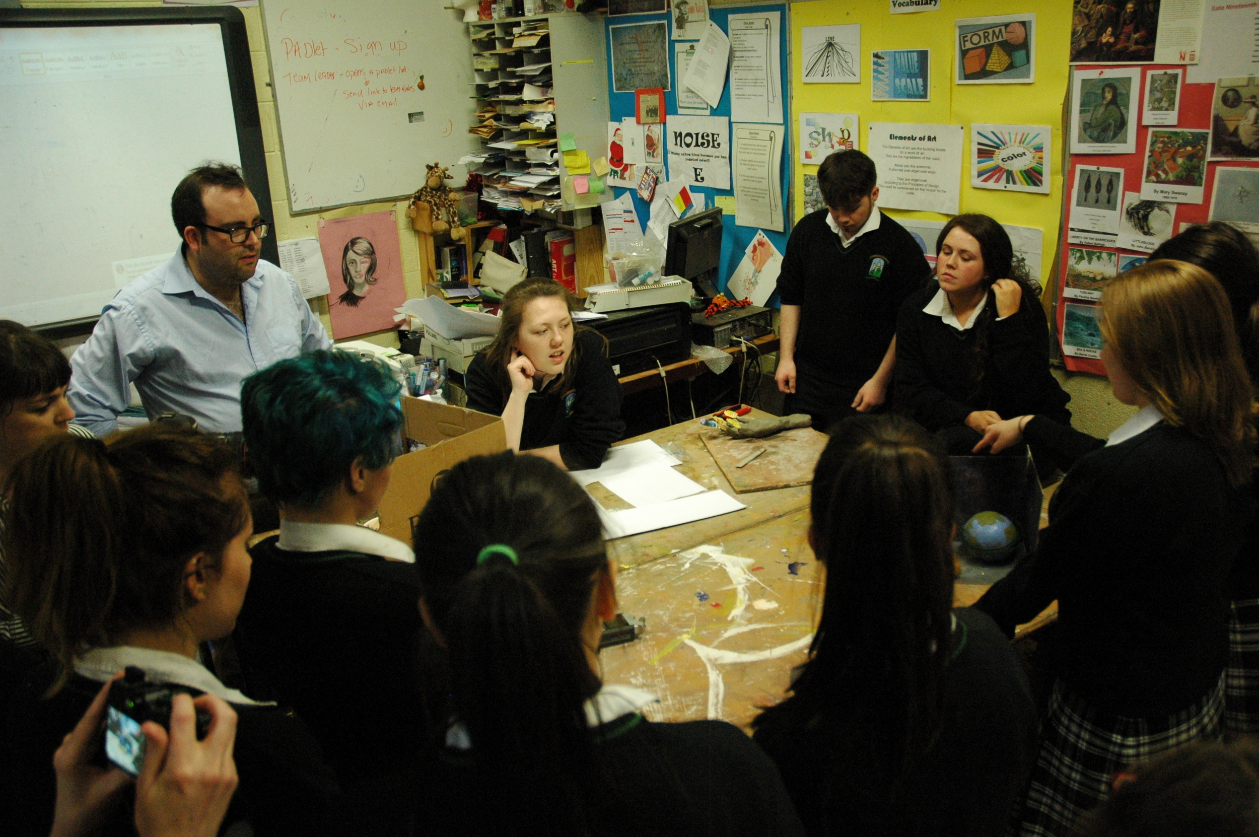Sean gave the students the task of developing proposals for pieces of public art. He encouraged them to embrace a sense of 'devilment' in their proposals.