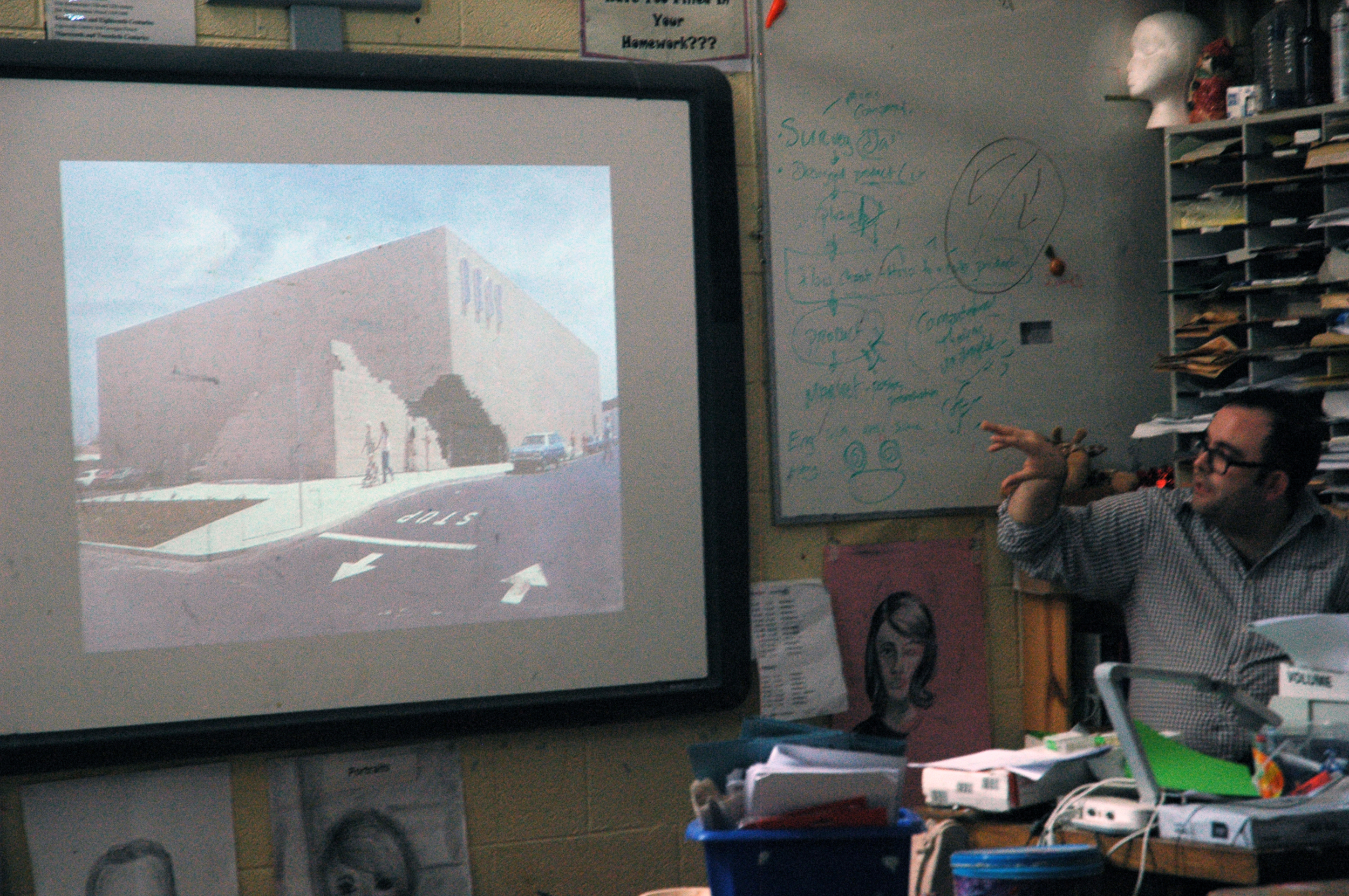 He presented images of a range of artists including postmodern architecture group SITE