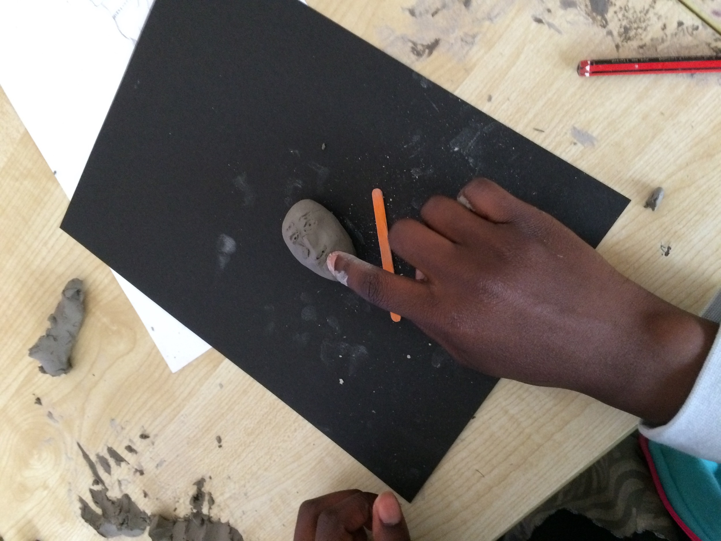 This image is of the early stages of a piece of sculpture representing the school principal Marianne.