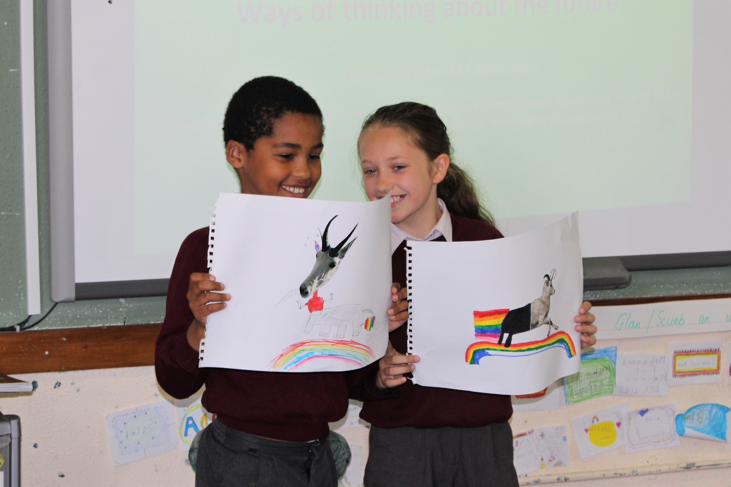 Siobhan gave each student a fragmented section of a cut out of an animal and asked each student to redesign the animal by incorporating elements from other animals and humans.