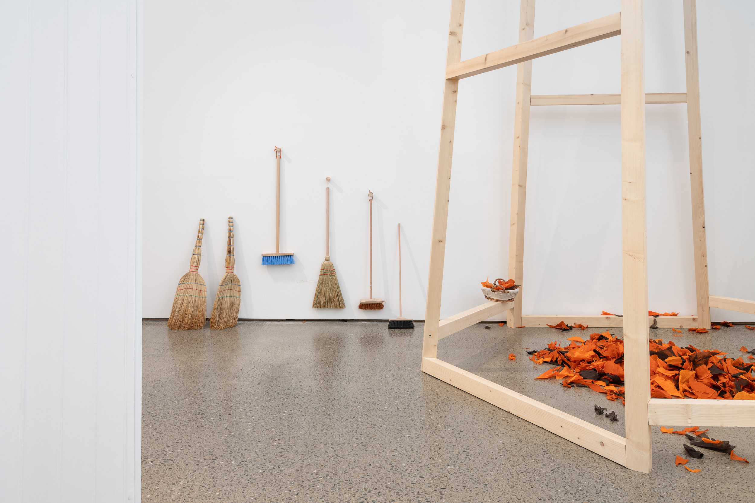 Mobile Element - Organdy leaves, brushes and brooms for sweeping  Caoimhe Kilfeather Photo by Jed Niezgoda