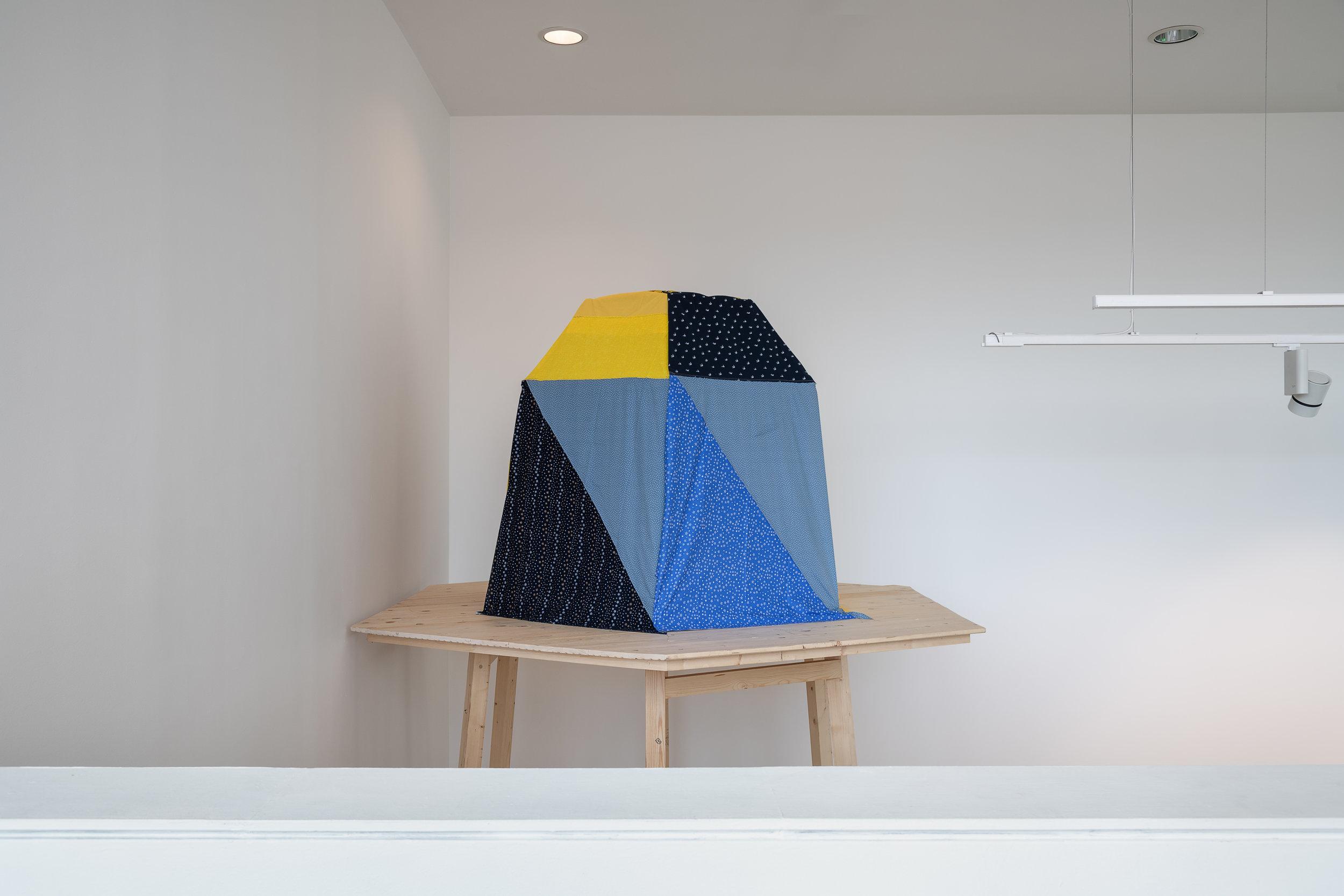 Element 3 (treehouse);  Wood, fabric Caoimhe Kilfeather Photo by Jed Niezgoda