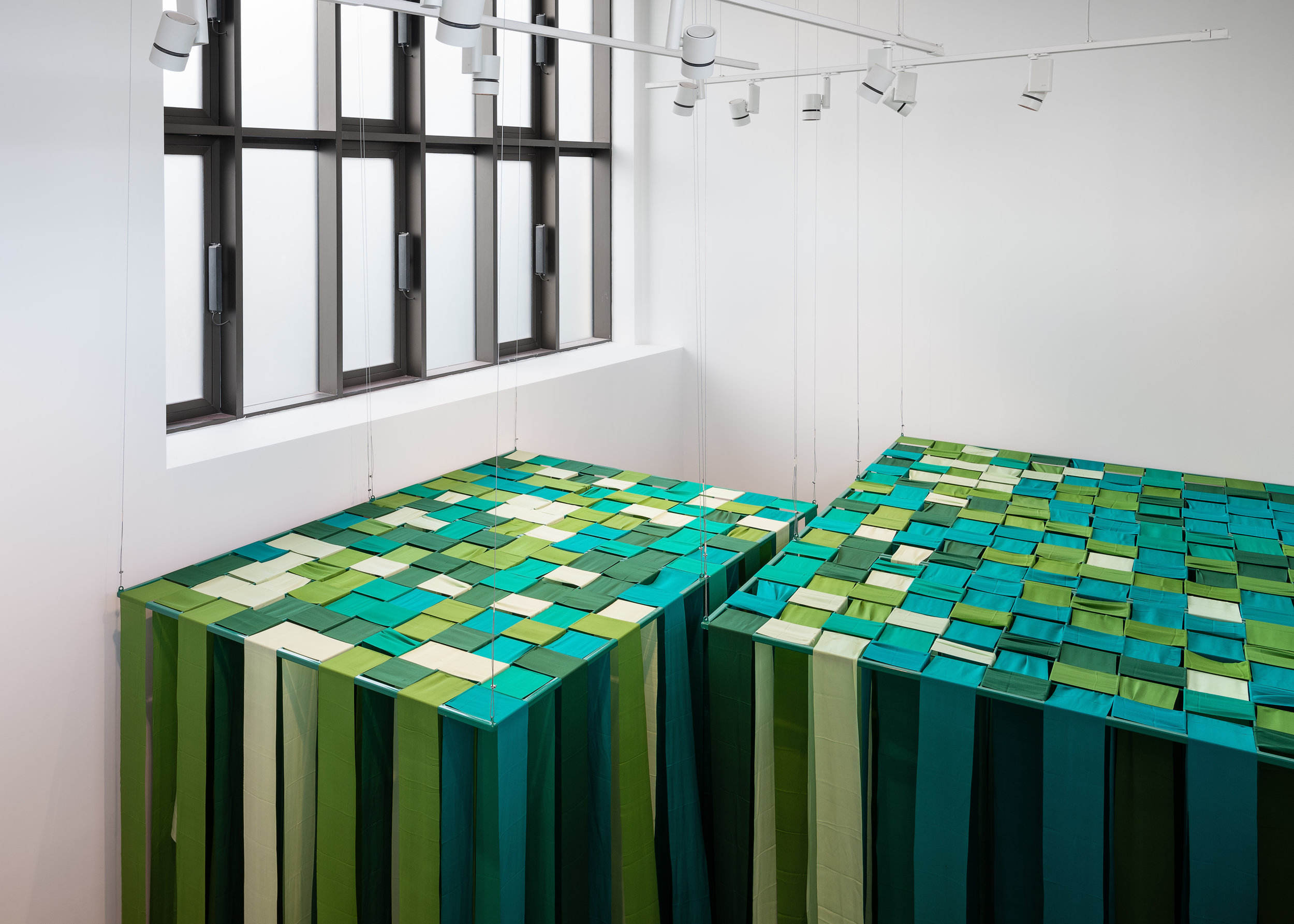Element 1  (green canopy, from the balcony); silk, powder coated stell Caoimhe Kilfeather Photo by Jed Niezgoda