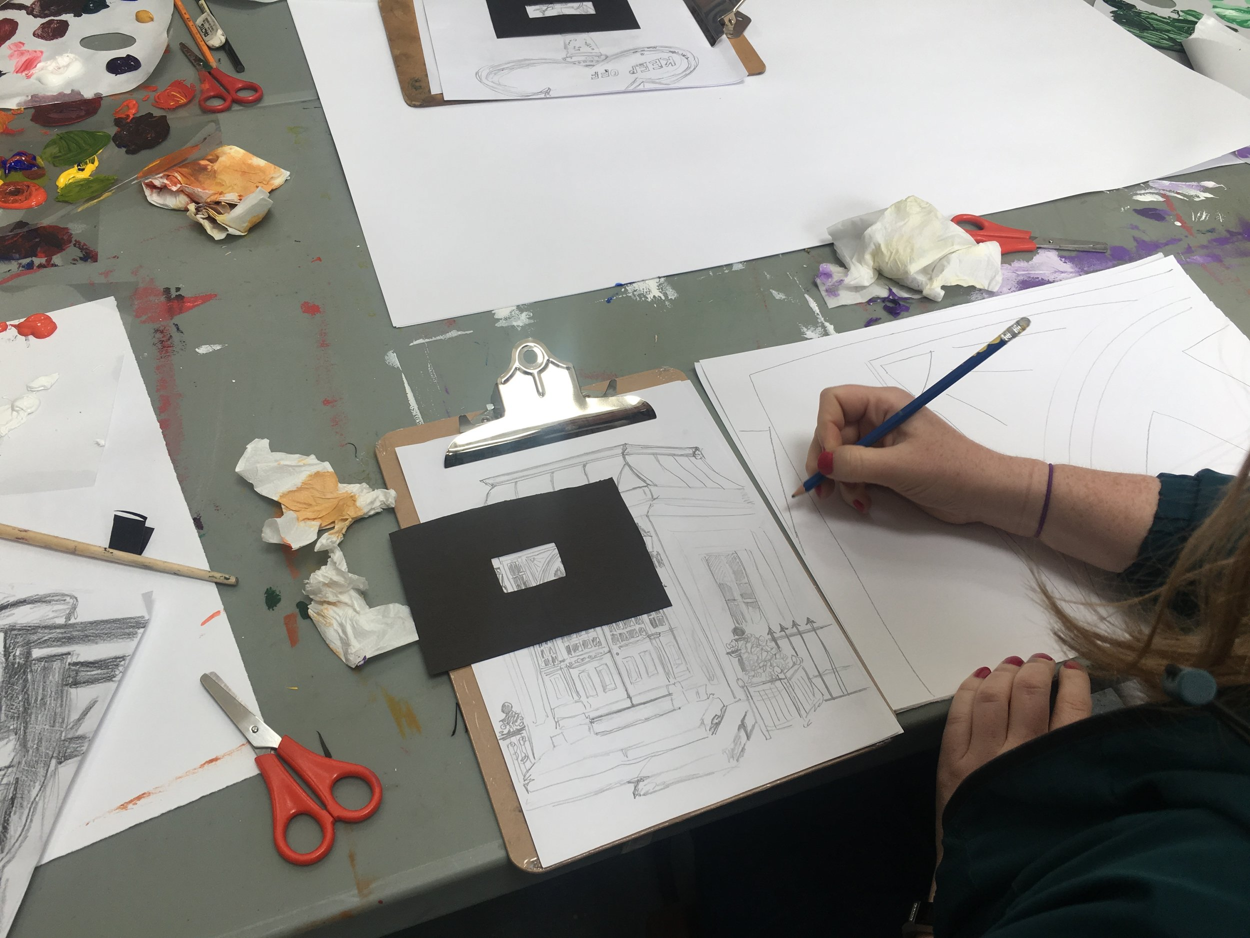 Participants created frames to isolate details on their drawings, these details were then blown up into an abstract composition in a second artwork