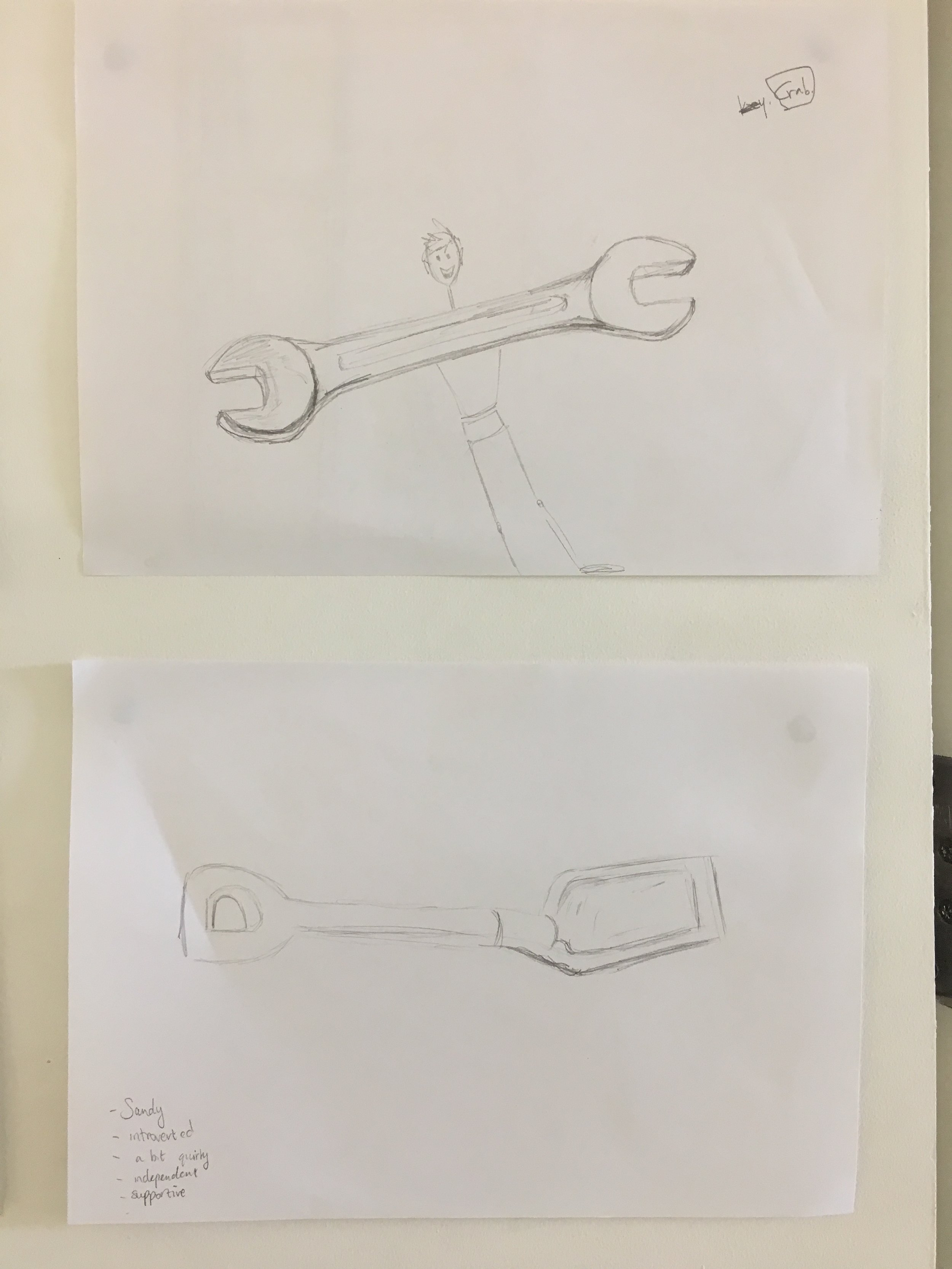 Aoife had brought in everyday objects for the group to draw - a cup, a hammer, a plant. After they had drawn these objects they were asked to transform them into a character…