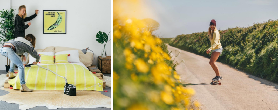 Holly & Evie styling the  Saunton Throw in Hello Sunshine.