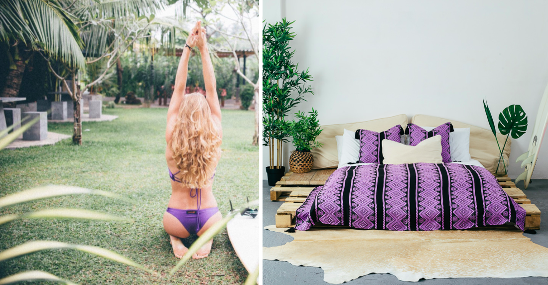 Evie stretching pre-surf in Sri Lanka and our  Isla Throw and matching cushions in Nightshade  (right).