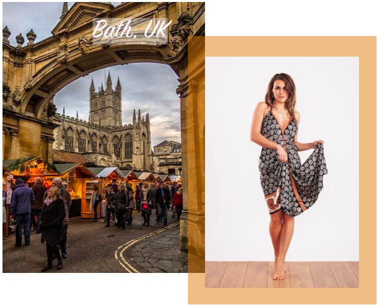 Holly wears the  Carmen Evening Dress in Black & Gold   ☆  Bath Christmas Market Image via  Pinterest